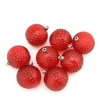 8ct Red Hot Transparent Diamond Cut Shatterproof Christmas Ball Ornaments 2.5""