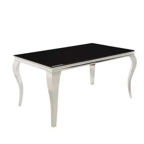 Strick & Bolton Cadiz Black/ Stainless Steel Dining Table