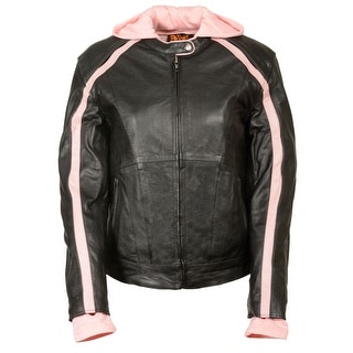 Womens Striped Leather Scooter Jacket Removable Hoodie (Option: Xxxl)