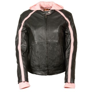 Womens Striped Leather Scooter Jacket Removable Hoodie