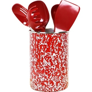 Calypso Basics by Reston Lloyd Enamel on Steel Utensil Holder and 5 Piece Utensil Set, Red Marble