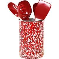 Calypso Basics by Reston Lloyd Enamel on Steel Utensil Holder and 5 Piece Utensil Set, Red Marble