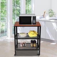 Kitchen Carts White Metal Microwave Cart Rolling Kitchen Storage Natural Shelves Utility Stand Kitchen Dining Bar
