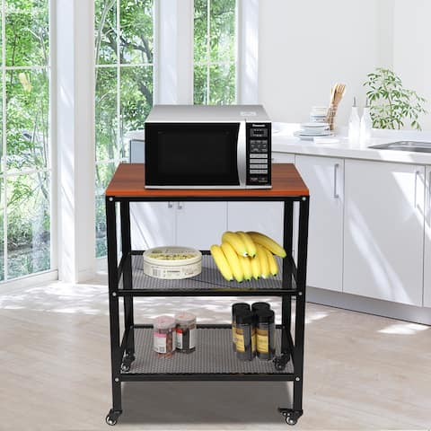 3-Tier Kitchen Microwave Cart, Rolling Kitchen Utility Cart, Standing Bakers Rack Storage Cart with Metal Frame