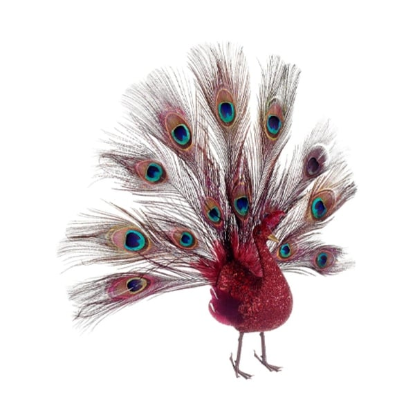 "16"" Regal Peacock Glitter Drenched Vibrant Red Open-Tail Bird Christmas Ornament"