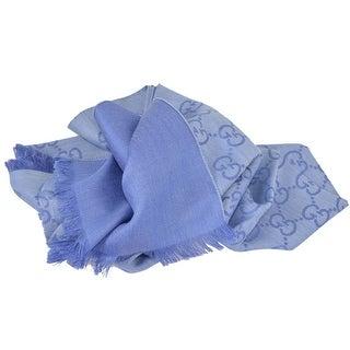 "Gucci Women's 165904 Nile Blue Wool Silk GG Guccissima Scarf - 70"" x 18"""