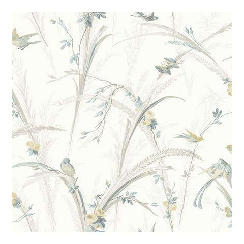 Meadowlark Light Grey Botanical Wallpaper - 20.5 x 396 x 0.025