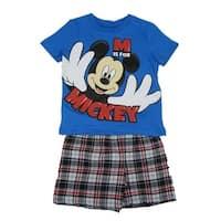 Disney Little Boys Royal Blue Mickey Print Crew Neck 2 Pc Shorts Outfit