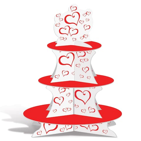 "Club Pack of 12 Red and White Valentine's Hearts Cupcake Stand Centerpieces 16"" - N/A"