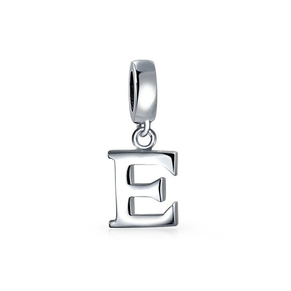 Sterling Silver Medium Block Initial E Charm