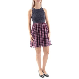 Womens Navy Red Plaid Sleeveless Above The Knee Fit + Flare Dress Size: 7