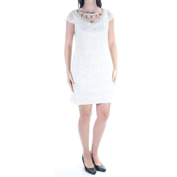 85f969576ed3 Shop JESSICA HOWARD Womens Ivory Lace Beaded Short Sleeve Jewel Neck Above  The Knee Body Con Dress Petites Size: 4 - On Sale - Free Shipping On Orders  Over ...