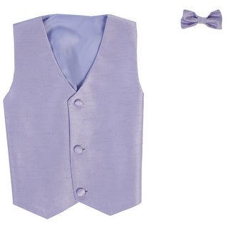 Baby Boys Lilac Poly Silk Vest Bowtie Special Occasion Set 3-24M