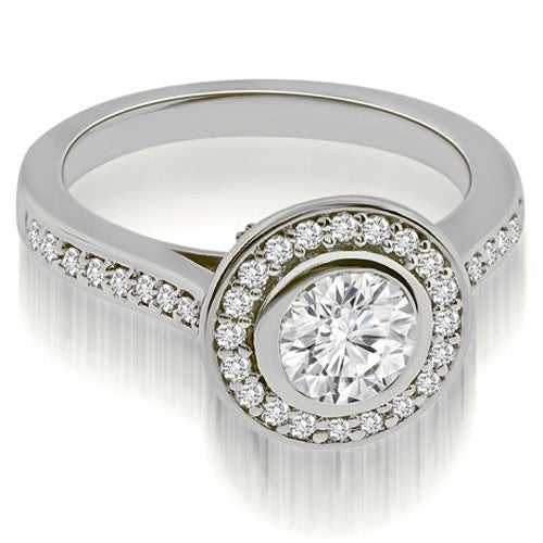 1.50 cttw. 14K White Gold Cathedral Halo Bezel Round Diamond Engagement Ring