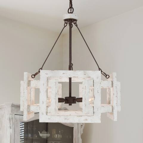 """Farmhouse Handcrafted White Chandelier Pendant Lights for Dining Room - L20"""" xW20 """"xH23.5"""