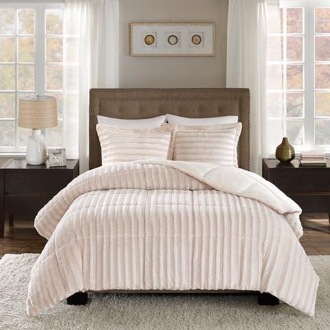 Madison Park York Faux Fur Comforter Mini Set