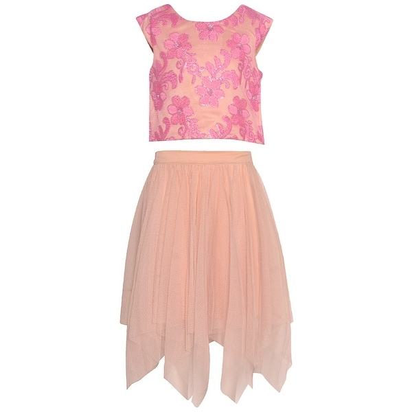 8af1cd3a634 Shop Rare Editions Girls Mauve Floral Embroidered Angled Hem 2 Pc Skirt Set  - Free Shipping On Orders Over  45 - Overstock - 19293325