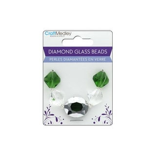 Bd320b Multicraft Glass Bead Strand Oval Diamond Emerald