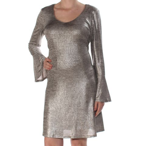 7a9ba39d CONNECTED Womens Silver Metallic Shift C Bell Sleeve Scoop Neck Above The  Knee Fit + Flare