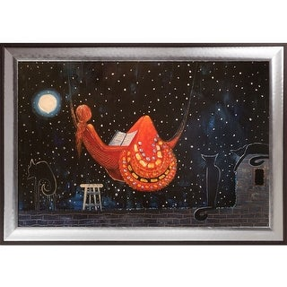 Justyna Kopania 'Night' (Moon Over The City) Hand Painted Oil Reproduction