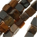 Tiger Tigers Eye Gem 4mm Cube Beads - 16 Inch (Brown & Gold) - Thumbnail 0
