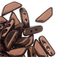 Czech Glass Tinos par Puca, 2-Hole Trapezoid Beads 4x10mm, 10 Grams, Dark Bronze