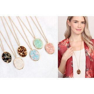 RIAH FASHION'S Two-Tone Oval Pendant Necklace & Earring Set