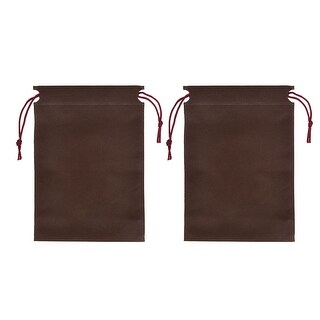 Unique Bargains Drawstring Cinch Sack 23 x 17cm Clothes Storage Bag Chocolate Color 2pcs