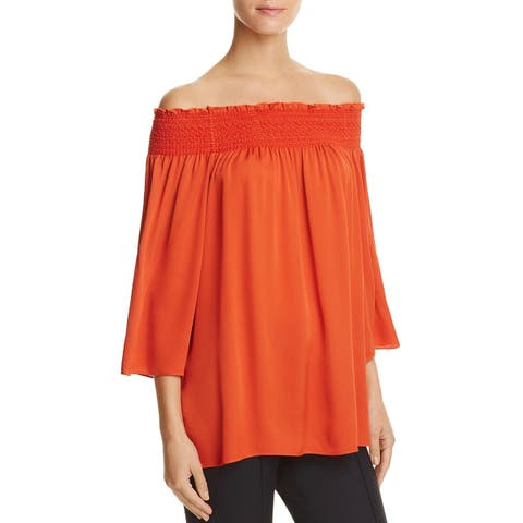 Theory Womens Elistaire Blouse Silk Off-The-Shoulder