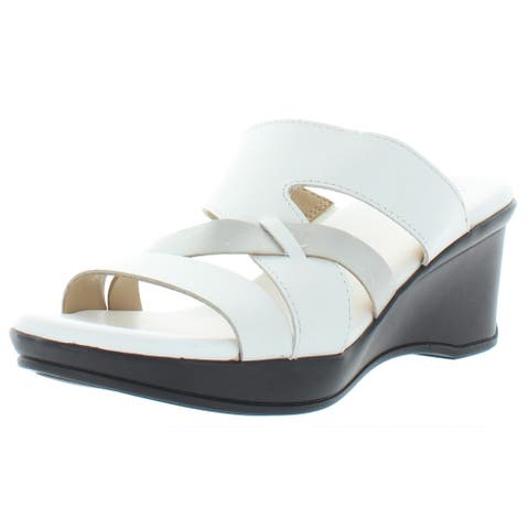 Naturalizer Womens Vivy Wedges Leather Dressy - White - 6.5 Wide (C,D,W)