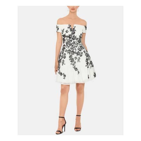 XSCAPE White Short Sleeve Mini Dress 6