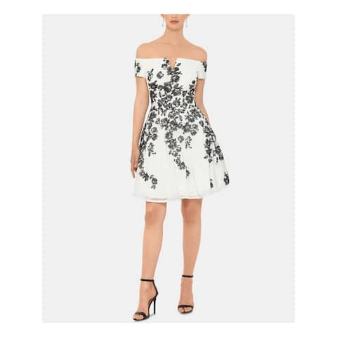 XSCAPE White Short Sleeve Mini Fit + Flare Dress Size 14