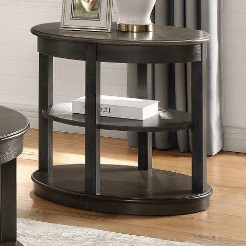 Furniture of America Marquess Transitional Gray Shelf-Base End Table