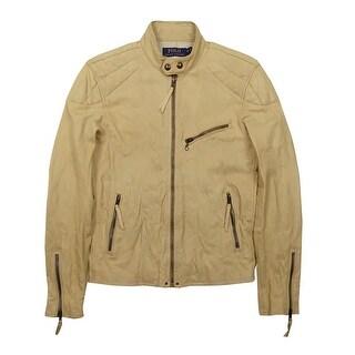 Polo Ralph Lauren Men's Lamb Leather Moto Jacket (XS, Antique) - Antique - XS