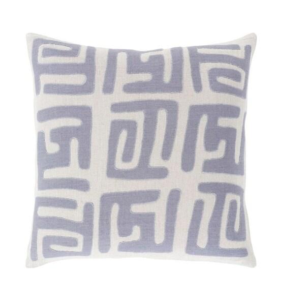 "18"" Tribal Rhythm Mist Gray and Blue Woven Decorative Throw Pillow"