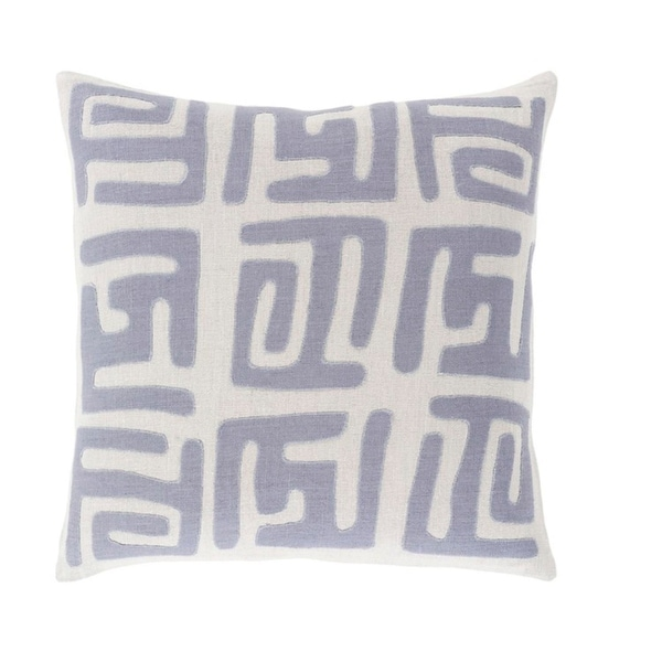 "20"" Tribal Rhythm Mist Gray and Blue Woven Decorative Throw Pillow-Down Filler"