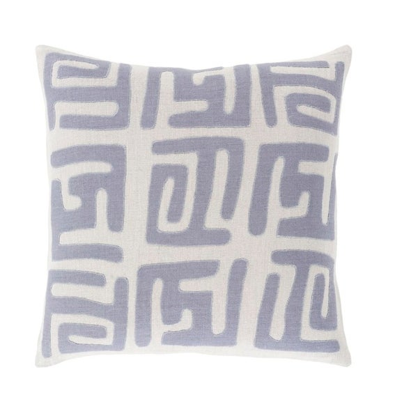 "22"" Tribal Rhythm Mist Gray and Blue Woven Decorative Throw Pillow-Down Filler"