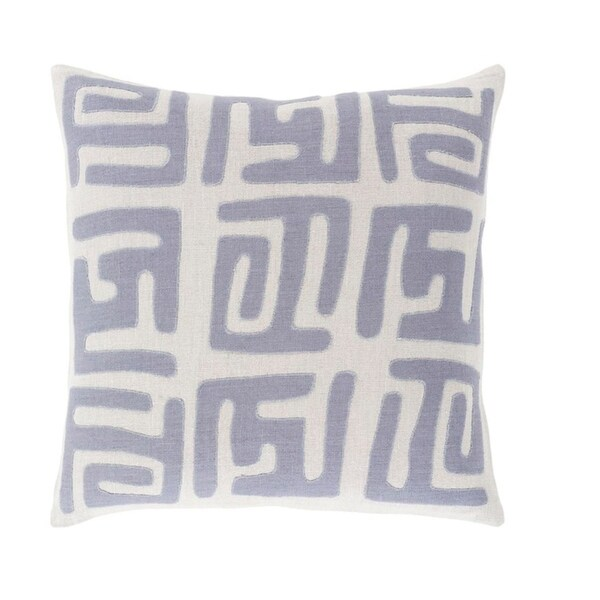 "22"" Tribal Rhythm Mist Gray and Blue Woven Decorative Throw Pillow"