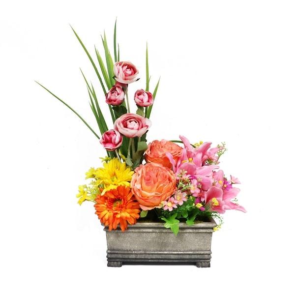 "23"" Artificial Faux Flower Arrangement in Planter - Multi - N/A"