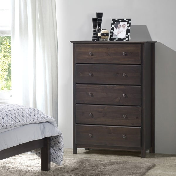Grain Wood Furniture Shaker 5-drawer Solid Wood Chest