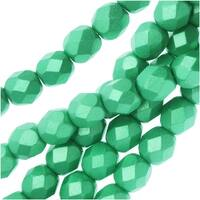 Czech Fire Polished Glass, Faceted Round Beads 6mm, 25 Pieces, Pastel Light Green / Chrysolite