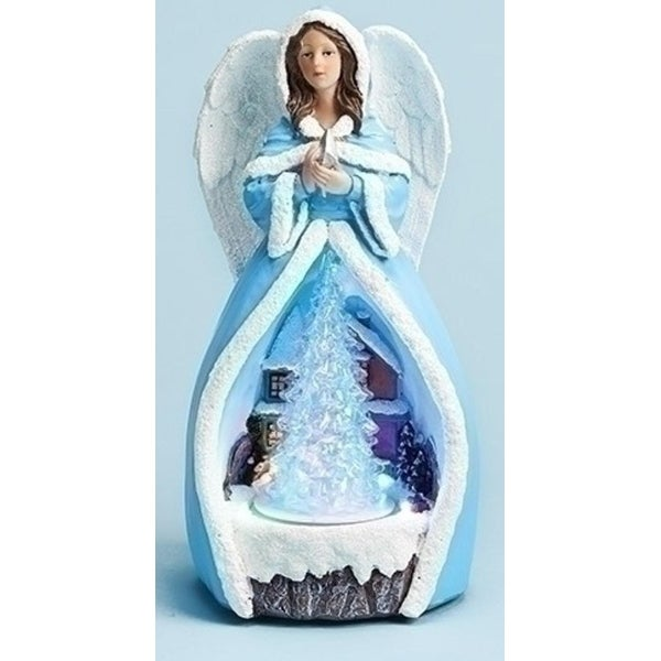 """11.5"""" Musical Blue Angel with Rotating LED Lighted Tree"""