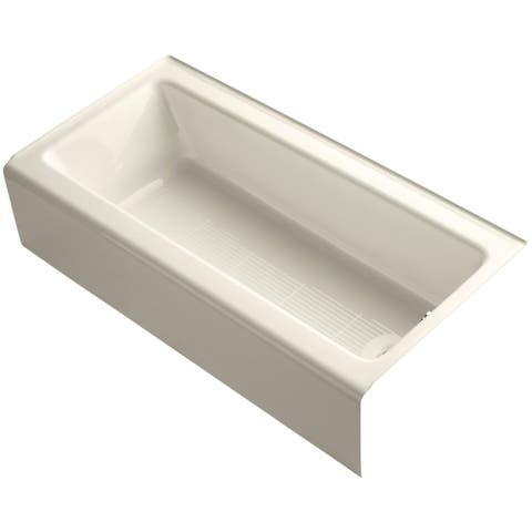 "Kohler K-838 Bellwether Bath Tub 60"" L x 30 1/4"" W Cast Iron Soaking for Three Wall Alcove Installations with Integral Apron"