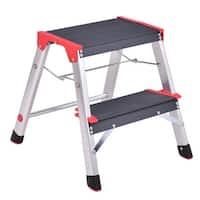 Costway 2 Step Aluminum Lightweight Ladder Folding Non-Slip Platform Stool 330Lbs Load
