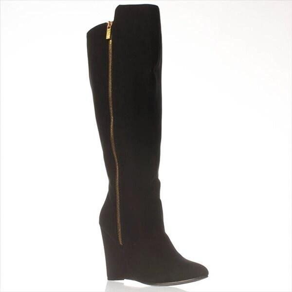 JFab Safiya Wide Calf Knee-High Boots - Black