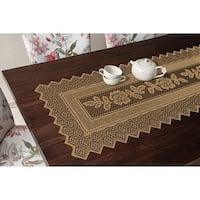 Table Runner Grega Design Brazilian Lace 19x62 Inches Ocher (Light Brown) Color 100 Percent Polyester