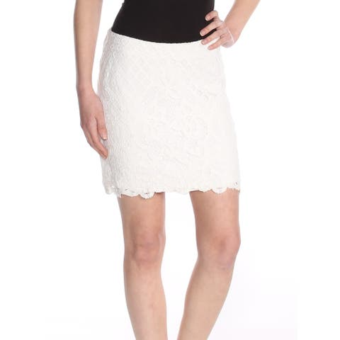 FREE PEOPLE Womens Ivory Lace Overlay Mini Party Skirt Size: 0