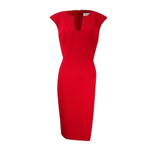 Calvin Klein Women's Petite Hardware-Detail Keyhole Sheath Dress - Red