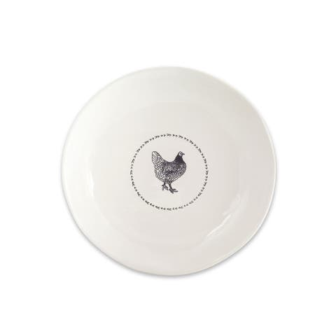 "13.25"" Chicken Round Platter (Set of 2) White, Black"