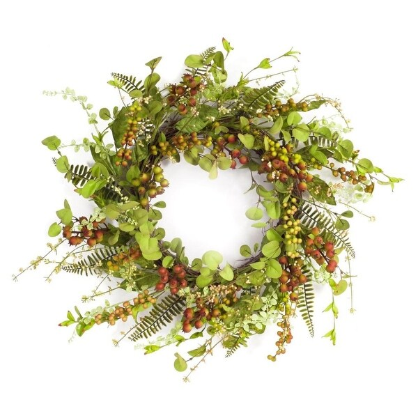 Pack of 2 Springtime Artificial Mixed Berry and Green Foliage Wreaths 22""